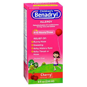 Benadryl Childrens Allergy Liquid Cherry 8 oz