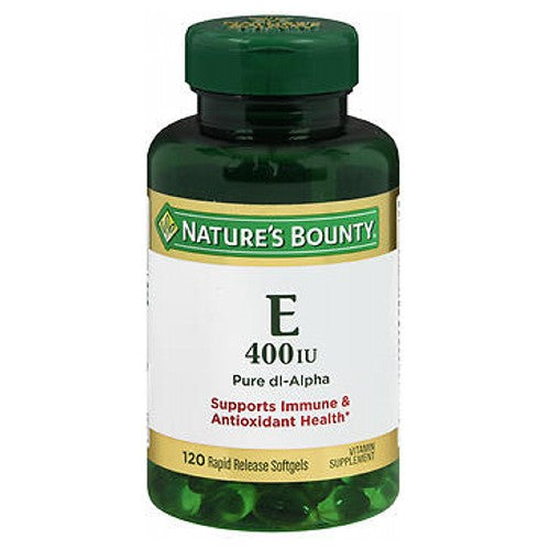 Nature's Bounty Vitamin E 120 caps by Nature's Bounty Vitamin E promotes immune function and helps to support cardiovascular health.* Vitamin E contains antioxidant properties that help fight free radicals in the body.* Free radicals may contribute to the premature aging of cells.* No artificial color, flavor or sweetener, sugar, starch, milk, lactose, gluten, wheat, yeast, fish. Sodium free. *These statements have not been evaluated by the Food and Drug Administration. This product is not intended to diagnose, treat, cure or prevent any disease.