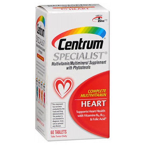 Centrum Specialist Multivitamin/Multivitamin Tablets For Heart 60 tabs by Centrum Multivitamin/Multimineral Supplement With Phytosterols Complete Multivitamin Supports Heart Health with Vitamins B6, B12  Folic Acid* Formerly Centrum Cardio