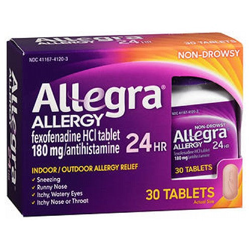 Allegra Adult Allergy Tablets 24 Hour 30 tabs by Allegra Temporarily relieves these symptoms due to hay fever or other upper respiratory allergies: Runny nose; itchy, watery eyes; sneezing; itching of the nose or throat. The original prescription strength relief. Indoor and outdoor allergies. Non-drowsy.