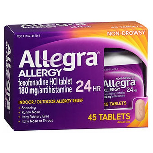 Allegra Adult Allergy Tablets 24 Hour 45 tabs by Allegra Temporarily relieves these symptoms due to hay fever or other upper respiratory allergies: Runny nose; itchy, watery eyes; sneezing; itching of the nose or throat. The original prescription strength relief. Indoor and outdoor allergies. Non-drowsy.