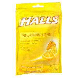 Halls Cough Drops - Honey-Lemon 30 each