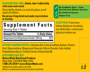 Magnesium 350mg Supplement Facts- 200 Tabs by Nature Made
