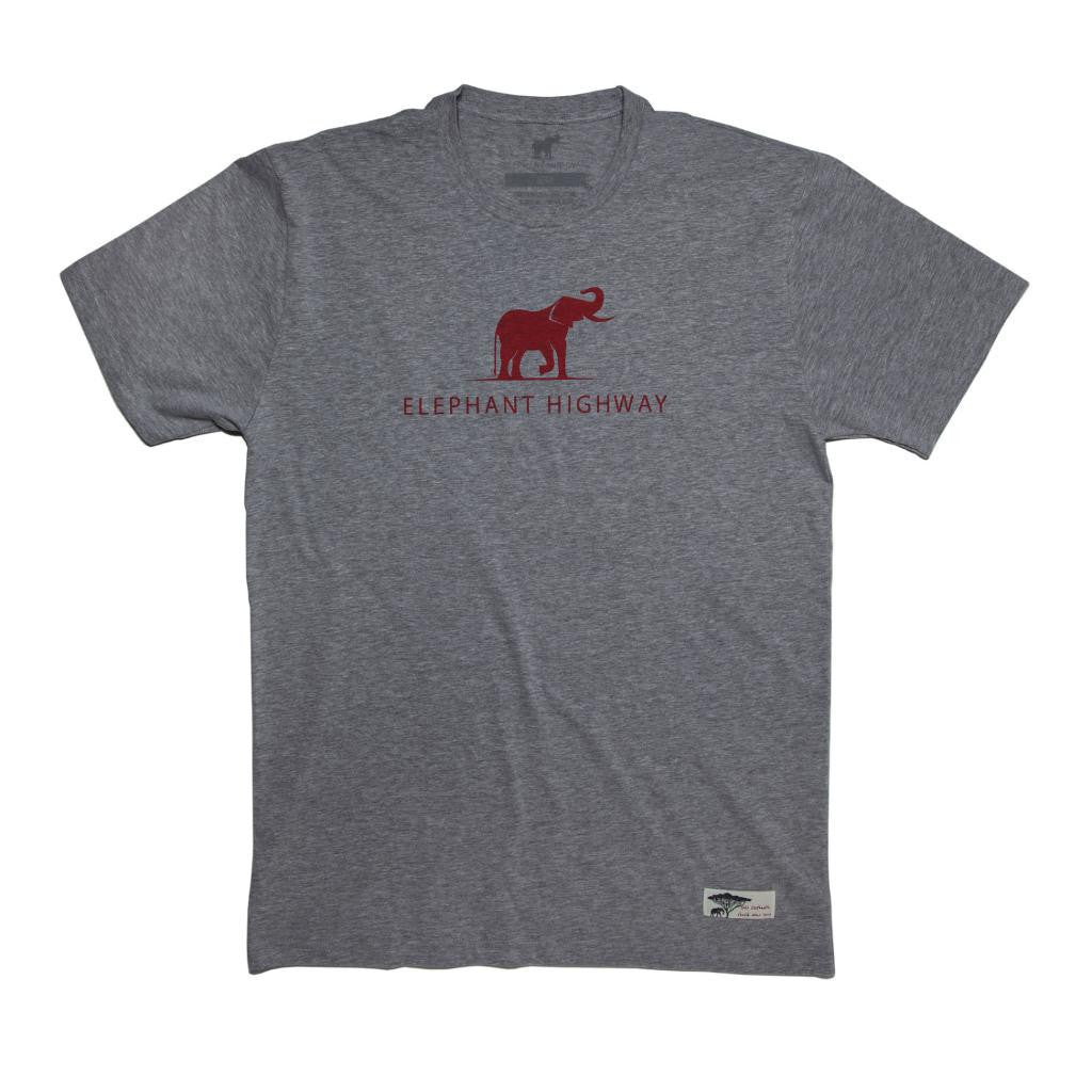 Heather Grey Logo Tee - Red Ink - Elephant Highway
