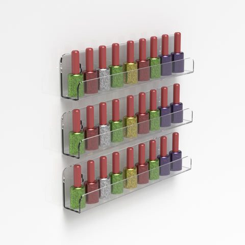 Single Wall Mounted Acrylic Nail Polish Bottle Display Shelf / Nail Varnish Bottle Holder