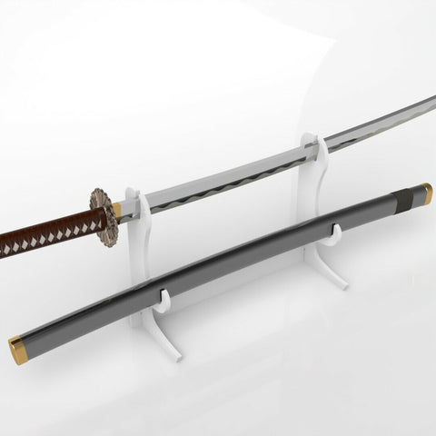 Freestanding Clear Acrylic Katana & Scabbard Stand - White