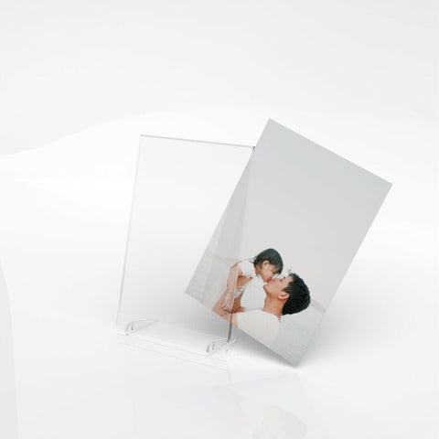 Freestanding Polished Clear Acrylic Picture Photo Frame