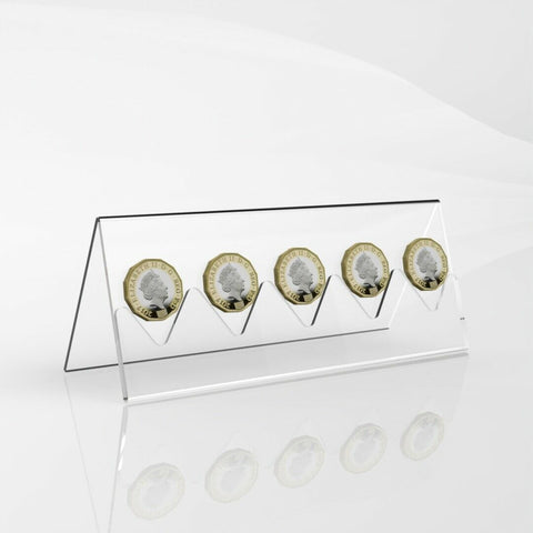 5 Coin Display Rack / Coin Collector Holder / Clear Acrylic Coin Display Stand
