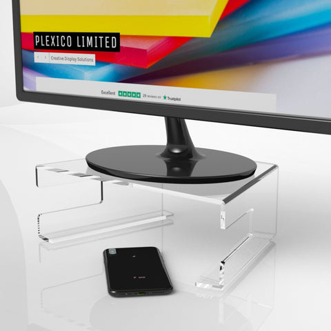 Black Acrylic Desktop Monitor Stand With Keyboard Tray / Display Screen Riser