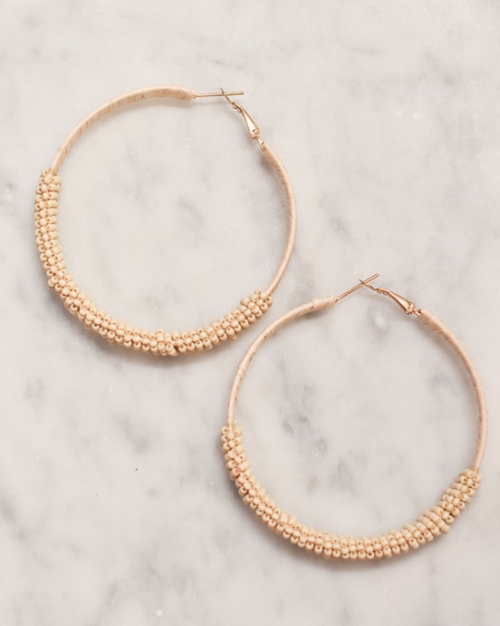Raffia & Beaded Hoop Earrings