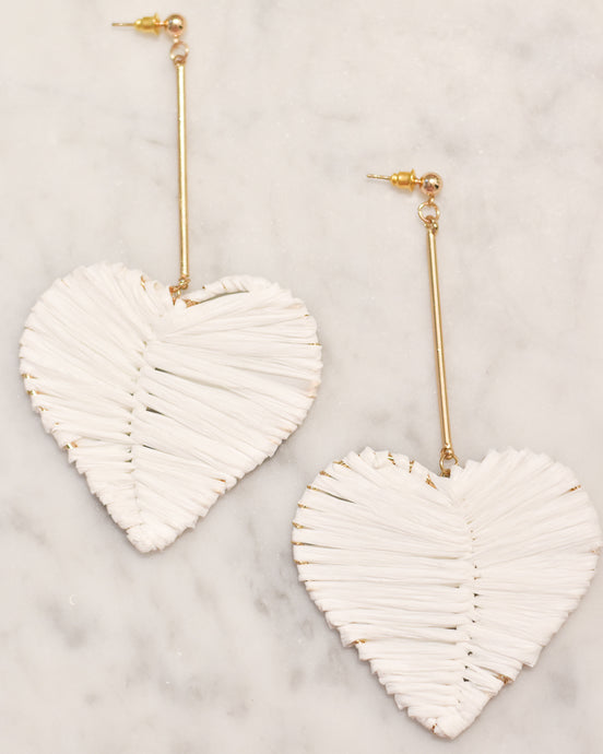 Heart Raffia Earrings