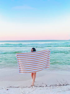 Tan Stripe Beach Towel