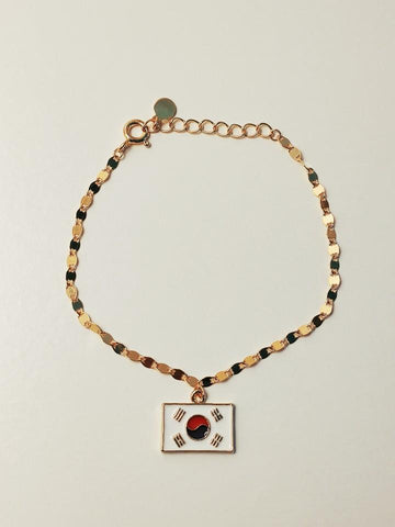 925 silver bracelet Korean flag