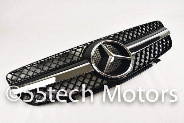 Mercedes Benz R230 2003~2006 SL-Class 1 Fin Grille - 5.5 inches star - 55tech Motors