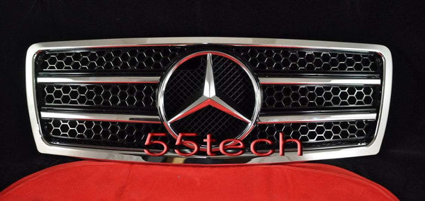 Mercedes Benz W210 1996~1999 E-Class Grille w/ Chrome Frame - 55tech Motors