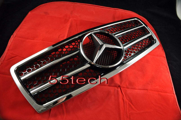 Mercedes Benz W210 2000~2002 E-Class Grille w/Chrome Frame - 55tech Motors