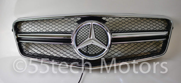 Mercedes Benz W212 E-Class 1 Fin Style Grille with Illuminated LED light Star - 55tech Motors