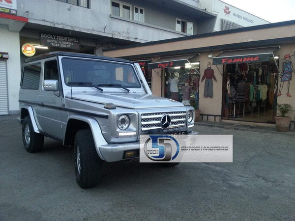 Mercedes Benz W463 G-Class Headlight Covers with Day Time Running Lights ( 5 LED Bulbs) - 55tech Motors