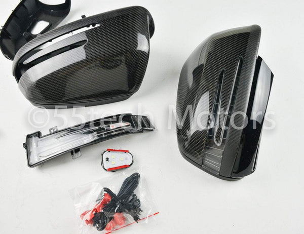Mercedes W204 2008~2009 Carbon Fiber CF Mirror Covers /Black / Silver / White / Chrome - 55tech Motors