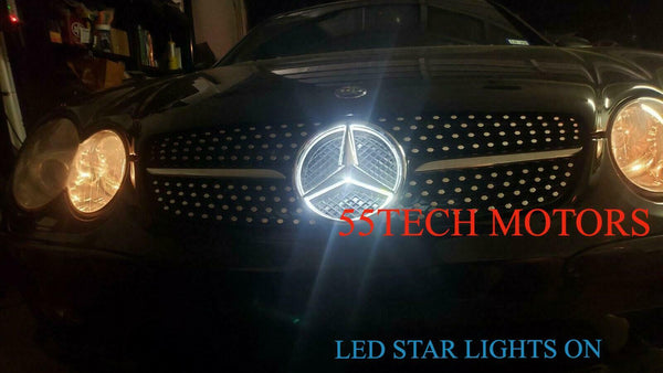 Mercedes R230 Diamond Grill LED Illuminated Star emblem light SL500 Grille SL600 - 55tech Motors
