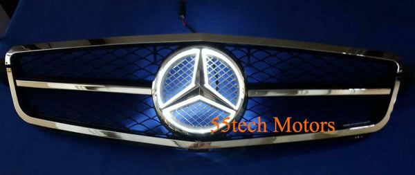 Mercedes W204 C-Class 2008-2013 Illuminated LED Star Grille AMG 1 Fin - 55tech Motors