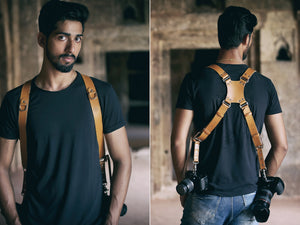THE WARRIOR - Double Leather Camera Belt Harness with Customised Logo - Golden Arrow Gears - Leather Camera Belt Strap