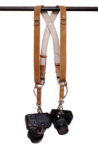 THE KNIGHT - Leather Double Camera Belt Strap