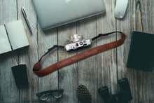 Load image into Gallery viewer, Golden arrow leather camera strap belt