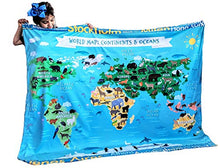 Load image into Gallery viewer, Dinosaur Species Learn Names Educational Blanket Reversible World Map Identification Learning for Kids Large 50x60 Gift Double Layered