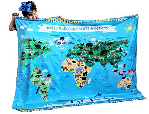 Dinosaur Species Learn Names Educational Blanket Reversible World Map Identification Learning for Kids Large 50x60 Gift Double Layered