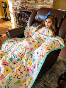 "Weighted Blanket Kids 5 lbs 55""x42"" Sensory Reinforced Plush Minky Glass Beads Perfect for Children 40 to 60 pounds Flower Pattern"