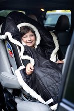 Load image into Gallery viewer, Car Seat Poncho - Car Crash Tested and CPSC Compliant - Black Sherpa