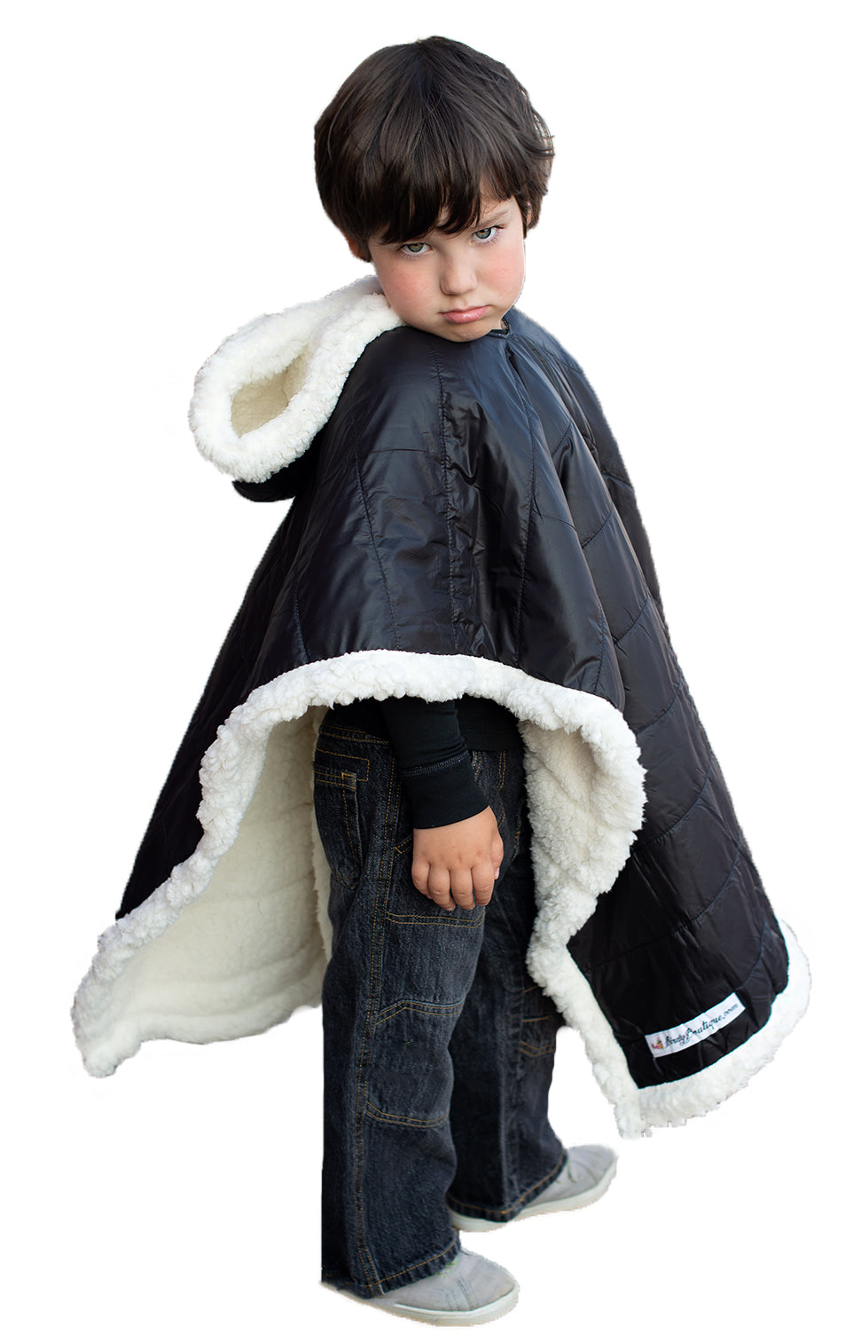 Car Seat Poncho - Car Crash Tested and CPSC Compliant - Black Sherpa