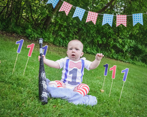 1st B-Day Boy Outfit - Baseball Patriotic