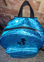Load image into Gallery viewer, Girls School Girls School Backpack Mermaid Scales Book Bag Trip Turquoise Shiny ShimmerMermaid Scales Book Bag Trip Turquoise Shiny Shimmer