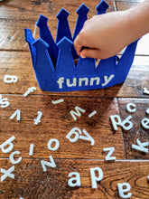 Load image into Gallery viewer, Wear Your Words Toddler Crown Kids Phonics Game Activity Make Your Own Word Reusable Letters Felt Alphabet