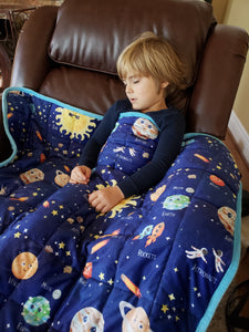"Weighted Blanket Kids 5 lbs 55""x42"" Sensory Reinforced Plush Minky Glass Beads Perfect for Children 40 to 60 pounds Planets Pattern"
