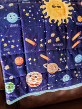 "Load image into Gallery viewer, Weighted Blanket Kids 5 lbs 55""x42"" Sensory Reinforced Plush Minky Glass Beads Perfect for Children 40 to 60 pounds Planets Pattern"