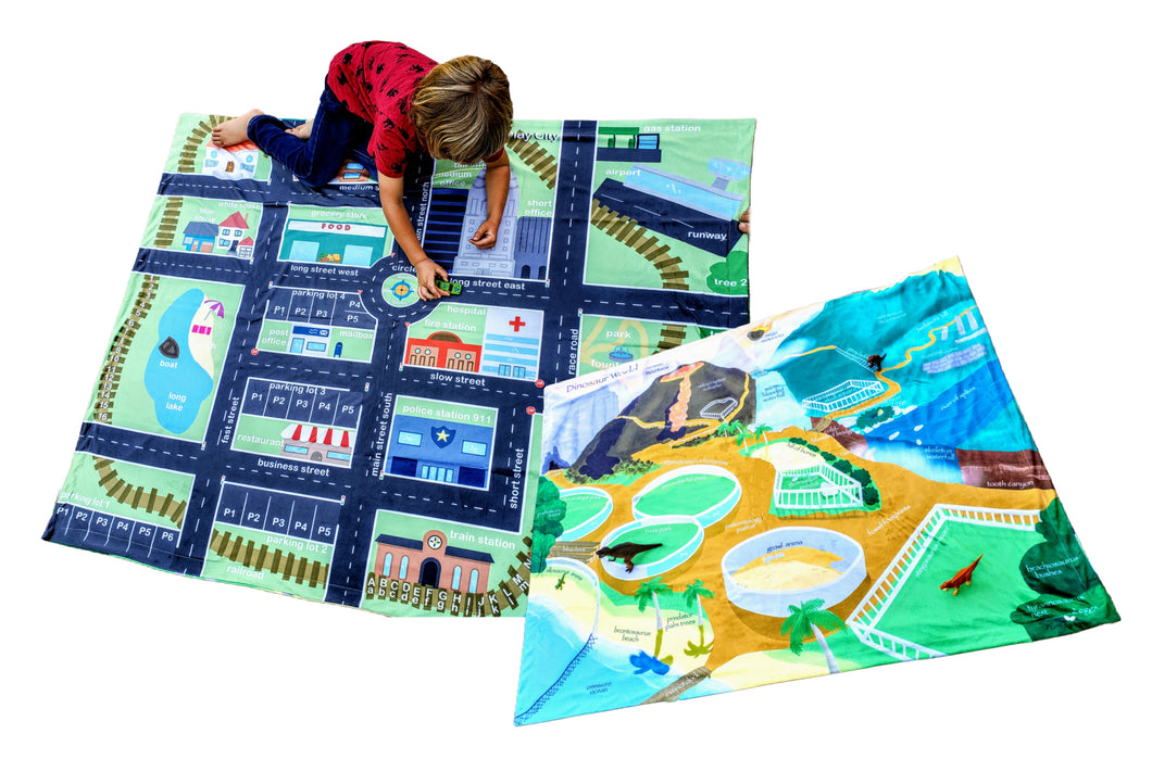 City Block Play Town Playmat Cars Roads Dinosaur Scene Learning Blanket Travel Mat Reversible