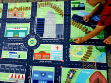 Load image into Gallery viewer, City Block Play Town Playmat Cars Roads Dinosaur Scene Learning Blanket Travel Mat Reversible