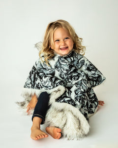 Car Seat Poncho - Car Crash Tested and CPSC Compliant - Faux Fur and Flowers