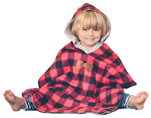 Car Seat Poncho - Car Crash Tested and CPSC Compliant - Lumberjack Buffalo Plaid & Antlers