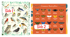 Birds Butterflies Common Backyard Species Pictures Names Identification Soft Warm Learning Blanket for Kids Large 50x60 Educational Gift Double Layered