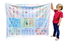 Load image into Gallery viewer, Teach Kids English Spanish ESL Learn Language Read Speak Children Español Ingles Educational Reversible Blanket Large Common Words Foreign Language
