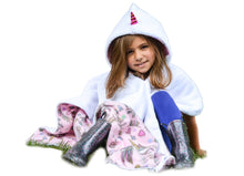 Load image into Gallery viewer, Car Seat Poncho - Car Crash Tested and CPSC Compliant - Magical Unicorns