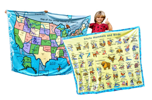 USA Map 50 States Capitals Childrens Learn Birds US America Facts Educational Blanket Reversible Large Bedroom