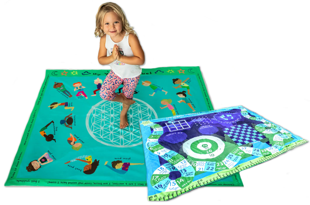 Yoga Kids Poses Mat Blanket Games Activity Blanket Soft Mink Childrens Kindergarten Toddler Kids Large Gift