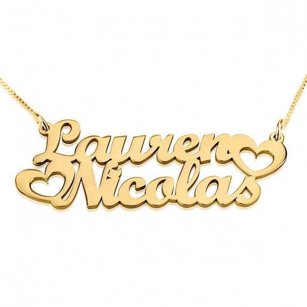Open Hearts Two-Name Necklace - 24K Gold Plated