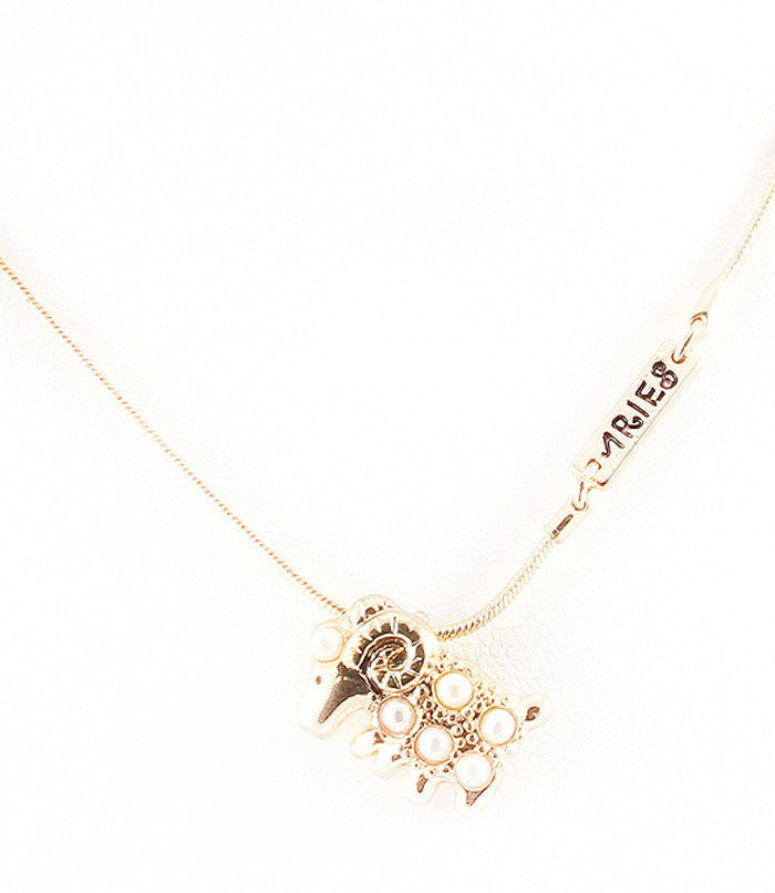 Zodiac Pearl Necklace - Aries