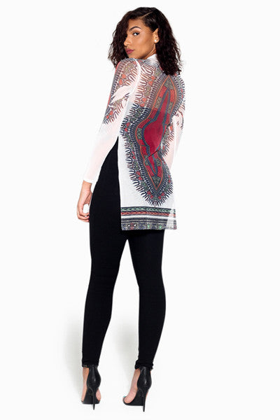 Sheer Dashiki Print Tunic Top